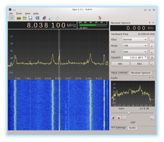 Gqrx main window while the application is running