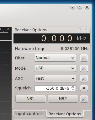 Gqrx receiver options