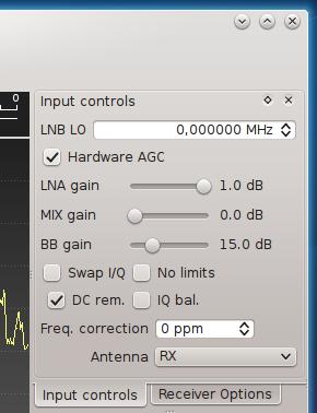 Gqrx input controls